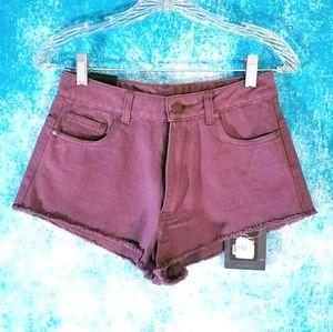 Insight High Waist Spokes Purple Denim Shorts